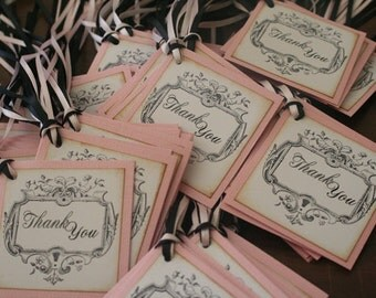 Wedding Thank You Favor Tags, Pink, Black, Vintage, Shabby Chic, French, Custom Colors