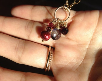 Iolite, Purple Amethyst,  Garnet, Burgundy Pearl, Gold Pendant, jewelry, Lilyb444, Gifts for her