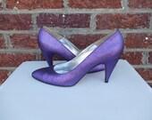 SALE Bright Purple Metallic Fabric Pumps - Pancaldi - Party Rocker Funky Retro Disco- Italy - Size 9
