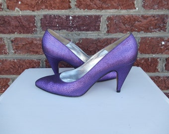 SALE Bright Purple Metallic Fabric Pumps - Pancaldi - Party Rocker Funky Retro Disco- Italy - Size 9
