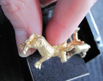 Gold Tone Donkey Cuff Links - Unused New in Box