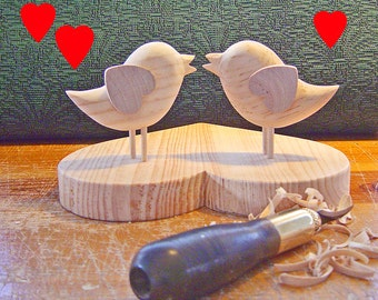 DIY - WEDDING CAKE Topper - Etsy Wedding - Two Little Birds on a Heart Base - So In Love - Ready to Finish Your Way