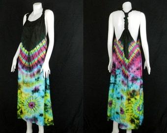 Tie Dye Handmade Hippie Gypsy Bohemian Women's Vest Maxi Long Dress Tank Blouse TB2