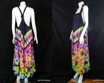 Tie Dye Handmade Hippie Gypsy Bohemian Women's Vest Maxi Long Dress Tank Blouse TB4