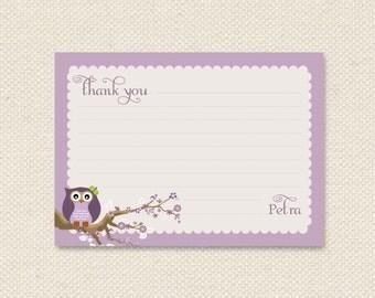 DIY printable thank you card - vintage lavender owl