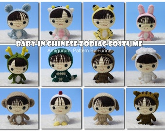 INSTANT DOWNLOAD PDF Pattern 12 Amigurumi Baby in Chinese Zodiac Costume