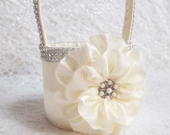 Ivory Flower Girl Basket with Rhinestone Mesh handle and Trim, Bling Basket, Custom Made to Order