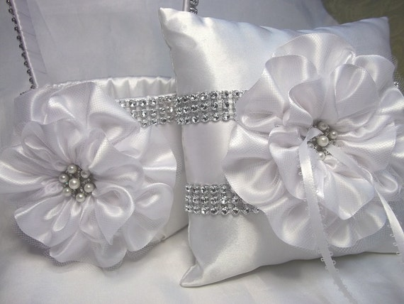 Flower Girl Baskets And Matching Ring Bearer Pillows : Items similar to white flower girl basket and matching