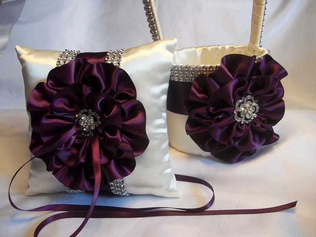 Flower Girl Baskets And Ring Pillows : Ivory flower girl basket and matching ring bearer pillow