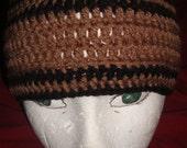Tan & Brown crochet skull cap