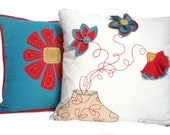 Boho pillow, flower pillow, turquoise and red pillow