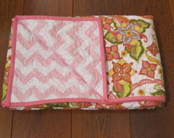 """30% SALE Baby Girl Riley Blake Bohemian Festival and Baby Pink Chevron Girl Quilted Blanket ---40"""" x 49"""""""
