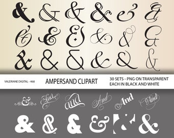 60 Ampersand Clipart Digital Design Elements for invitations, scrapbooking INSTANT DOWNLOAD  Clip Art Designs  468
