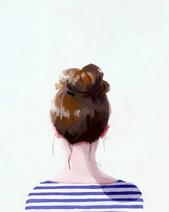 "5x7"" hair art - bun print - ""Top Knot 17"""