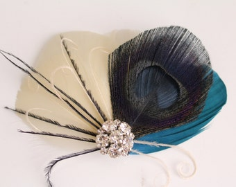 Wedding Bridal Ivory Black Peacock Teal Feather Rhinestone Jewel Head Piece Hair Clip Fascinator Accessory