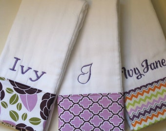 Personalized Mongrammed Burp Cloths - Baby Girl Set