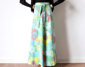 60s Floral Wrap Maxi Skirt, boho hippie Psychedelic Saks Fifth Avenue Young Dimensions flower print yellow coral sky blue & green a line