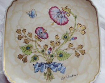 Now Reduced Vintage Ole Winther Plate Mother and Child Blue and Pink Morning Glory Butterfly Hutschenreuther Ltd Edition 1980 Art Nouveau