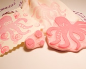 Octopus Rubber Stamp Set with Bubbles Ocean Animal Stamp Scrapbooking Kids Cards Gift Wrap