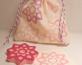 Flower Star Tile Design Handcarved Rubber Stamp for Paper Crafts and Decoration