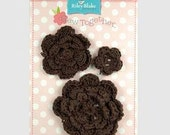 Inventory Sale Riley Blake Sew Together Brown Crochet Flowers 1 Pkg.