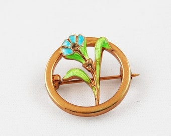 Vintage Copper Tone Circle Brooch with Blue Flower