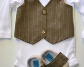 Brown Vest Bow tie Baby Boy Outfit Photo Prop Matching Shoes