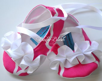 Hot Pink Moroccan Lattice Soft Ballerina Slippers Baby Booties with White Ruffles & Ribbon Ties