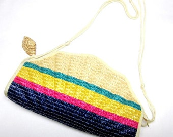 Blue Hot Pink Yellow Purse Clamshell Handbag Natural Fiber Straw Clutch