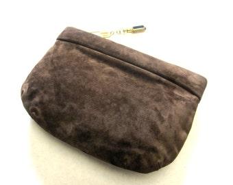 Ruth Saltz Brown Suede Handbag Clutch With Signature Drop Purse
