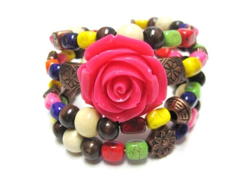 Rose Rainbow Stone Bracelet Western Wrap Copper Cuff No Skulls