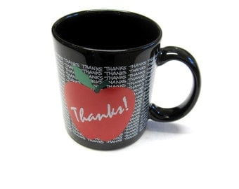 Thanks Mug Coffee Cup Apple Red Black Thank You Gift