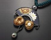Lotus pendant by Keum Boo and pearls.
