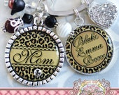 LEOPARD Personalized MOM Key Chain (or Necklace), Grandma Aunt Nana Mimi, Black Brown Leopard Cheetah, Personalized Name, Mother's Day