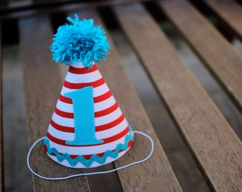 First Birthday HAT ONLY Cat in the Hat Inspired Dr Seuss Inspired Party 1st Birthday Outfit Toddler Baby Boy or Girl Dr. Seuss