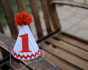 First Birthday Hat Light Blue Stripes and Red