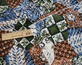 "Geometric Fabric Fleur de Lis 3.5 yards by 44"" barkcloth Woven Blue Green Russet big print Retro Vintage 70's Style yardage handbag thick"