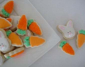 Carrot and Bunny Cookies - Decorated Cookies -(2 Dozen)