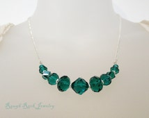 Teal and Silver Necklace / PCOS Necklace / PCOS Awareness Jewelry / Holiday Necklace / Emerald Green Necklace