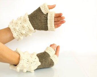 Pure Wool Fingerless Gloves in Brown and White, Hand-knitted Natural Winter Accessories, Bohemian Fashion