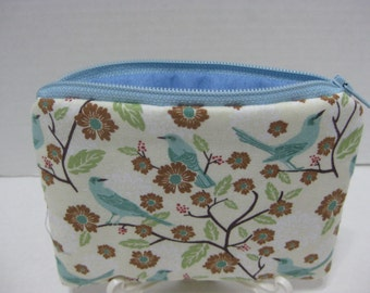 Blue Bird Sitting On A Branch Women Zipper Pouch