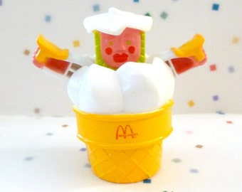 Vintage McDonalds Happy Meal Toy, Changeables ~  Robot Toys ~ RARE  Toy ~  Ice Cream Cone in PINK ~  1988 Food Toys ~ Hard to find