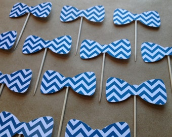 12 Bow Tie Cupcake Toppers - Chevron
