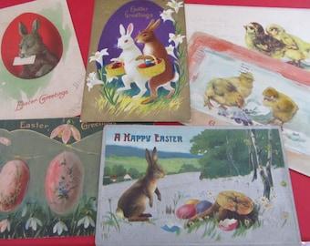 Set of 6 Vintage EASTER Postcards--Vintage Ephermera--1900