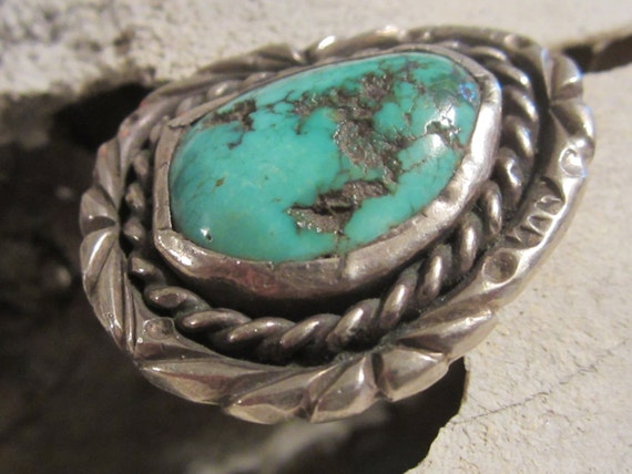 Old Pawn/Turquoise Ring/Navajo Ring/Native American Jewelry/Southwestern Sterling Jewelry