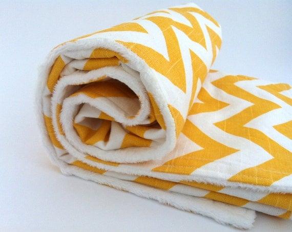 Minky Baby Blanket - Yellow Chevron - 28 x 34 in.