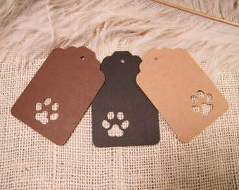 24 Paw Print Gift Tags - Animal Lovers - Birthday Party Gift Tags - Dogs Cats Wildlife - Woodland Wedding Tags - Brown Kraft Black