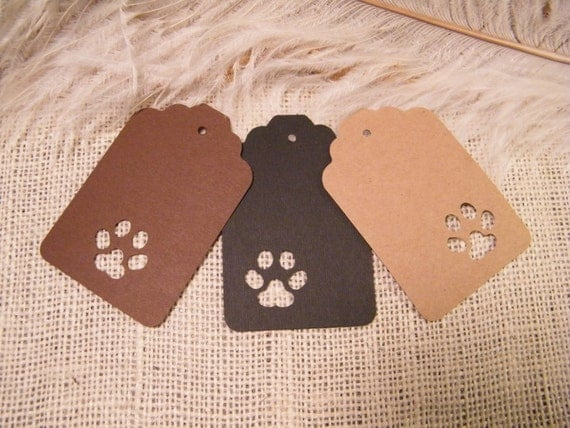 Wedding Gift Ideas For Dog Lovers : 24 Pet Paw Print Gift TagsAnimal LoversBirthday Party Gift Tags ...