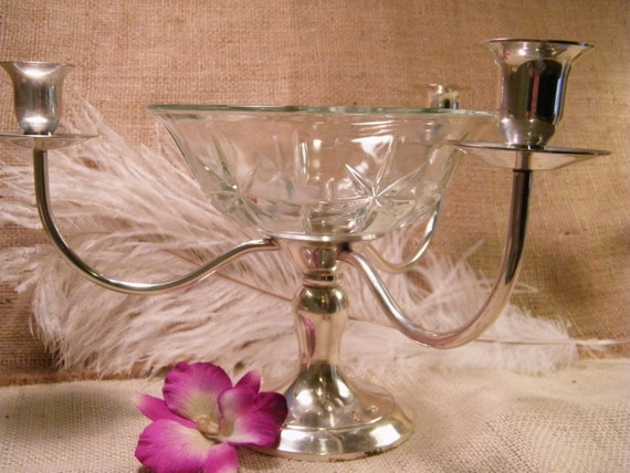 Vintage epergne arm candelabra etched glass flower