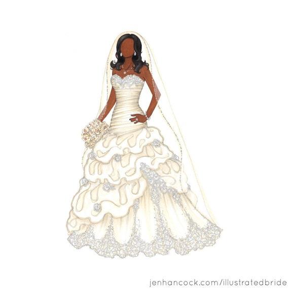 "Custom Bridal Portrait, 11 x 14"" Illustration"